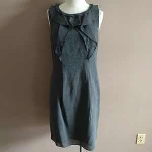 Elie Tahari Sz 2 Wool Blend Ruffle Sheath Dress